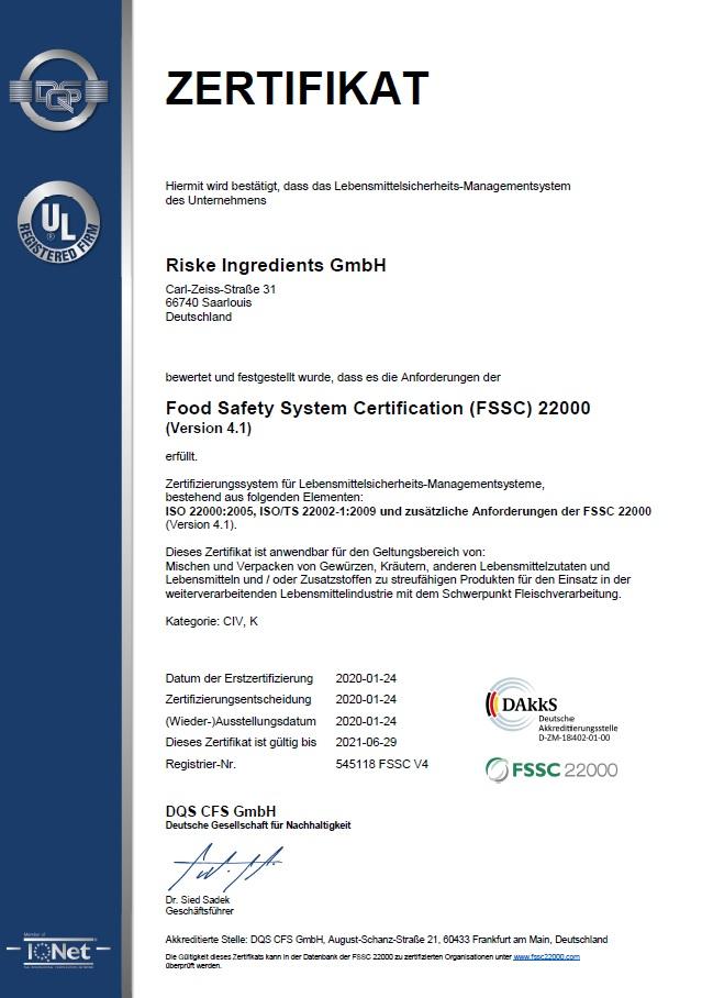 FSSC Zertifikat